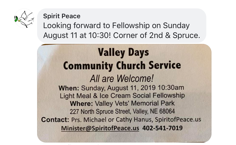 Valley Days Community Church Service