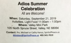 Adios Summer Celebration!